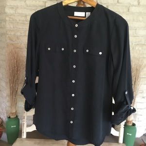 CHICOS CHARCOAL BLOUSE